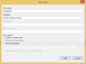 Create New Mvc View