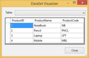 product table with data