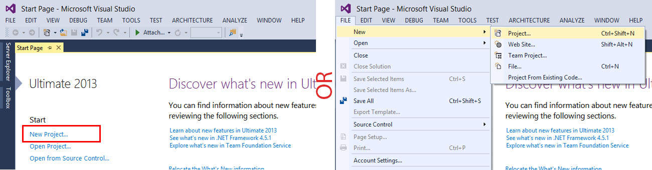 Create New Application in Visual Studio 2013