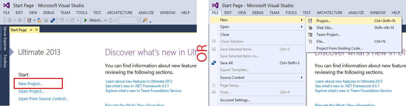 Create New Application in Visual Studio 2013